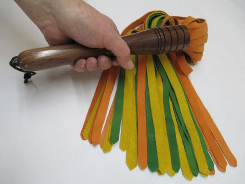 Orange/Green/Yellow Trio Suede 10mm Wide Falls Flogger